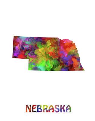 Nebraska Map Digital Art - Nebraska Map Watercolor by Bekim Art