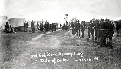 Photograph - Nebraska Soldiers Raising Flag Spanish American War by Marilyn Hunt