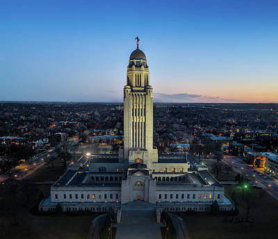 Photograph - Nebraska State Capitol At Sunset by Mark Dahmke
