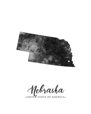 Geography Mixed Media - Nebraska State Map Art - Grunge Silhouette by Studio Grafiikka