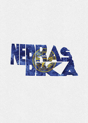 Painting - Nebraska Typographic Map Flag by Inspirowl Design