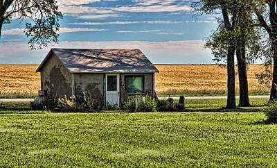 Photograph - Nebraska Wheat Field Cottage by Ginger Wakem