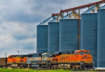 Photograph - Nebraska Wheat Silos And Bnsf Trains by Ginger Wakem