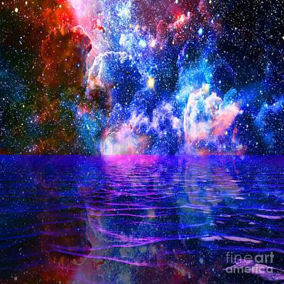 Painting - Nebula Horizon Oceans Blue by Saundra Myles