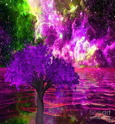 Painting - Nebula Tree Ocean Dream by Saundra Myles
