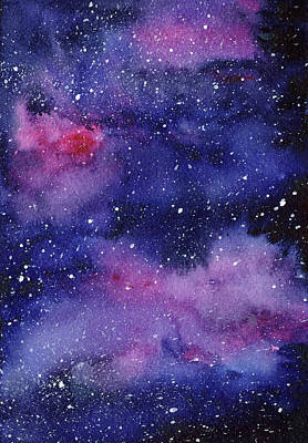 Constellations Painting - Nebula Watercolor Galaxy by Olga Shvartsur