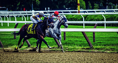 Neck And Neck At Saratoga Art Print by Noah Silliman