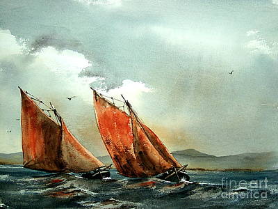 Painting - Neck And Neck On Galway Bay by Val Byrne