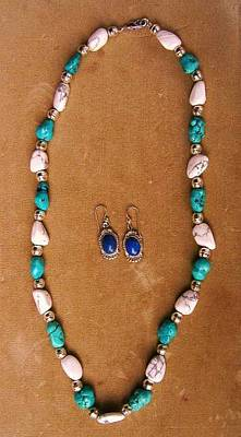 Howlite Jewelry - Necklace Earring Set Of Turquoise And Howlite   by Hal Sharpe