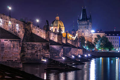 Photograph - Necklace Of Night Lights. Charles Bridge by Jenny Rainbow