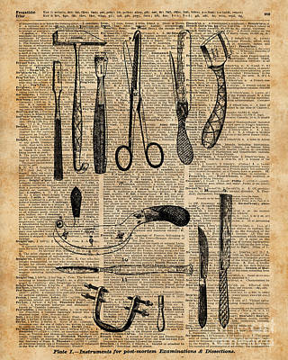 Necropsy Kits,anatomy Medical Instruments,surgery Decoration,dictionary Art,vintage Book Pag Art Print by Jacob Kuch