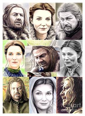 Drawing - Ned And Catelyn Montage by Wu Wei