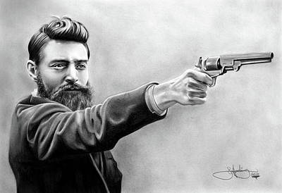 Ned Kelly Drawing Art Print by John Harding