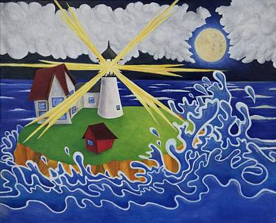 Nubble Lighthouse Painting - Neddick by Chris Craft