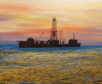 Drillship Painting - Neddrill 2   by Colin Evans