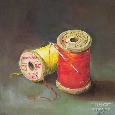 Spool Painting - Needle And Thread No. 2 by Kristine Kainer