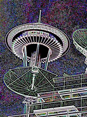 Digital Art - Needle Over Fisher Plaza by Tim Allen