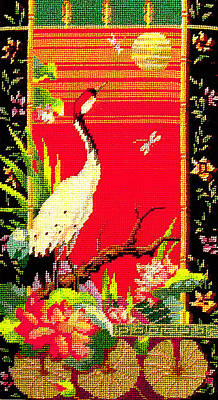 Photograph - Needlework - Chinese  Crane Scene by Merton Allen