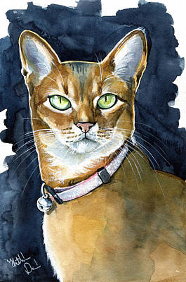 Painting - Nefertiti - Abyssinian Cat Portrait by Dora Hathazi Mendes
