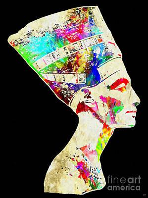 Pharaoh Mixed Media - Nefertiti Grunge by Daniel Janda