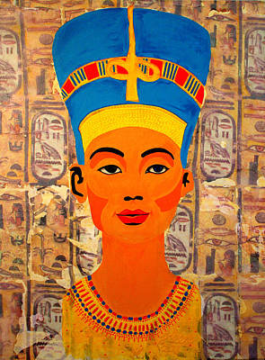 African Painting - Nefertiti by Irene Jonker
