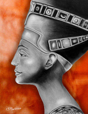 Afro American Art Drawing - Nefertiti by Vernon Rowlette