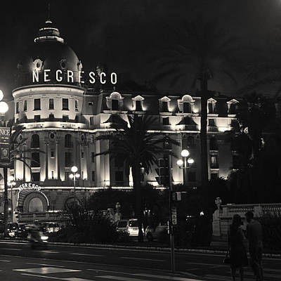 Photograph - Negresco At Night by Ron Dubin