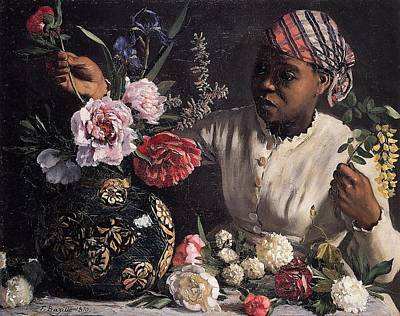 Painting - Negress With Peonies by Frederic Bazille