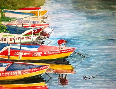 Jamaican Art Painting - Negril Boats by Wandeka Gayle