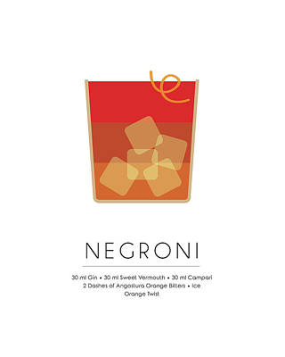 Champagne Mixed Media - Negroni Classic Cocktail - Minimalist Print by Studio Grafiikka