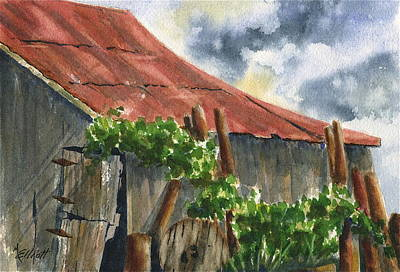 Neighbor Don's Old Barn Original by Marsha Elliott