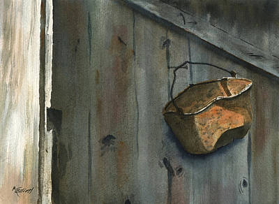 Neighbor Dons Rusted Kettle Art Print by Marsha Elliott
