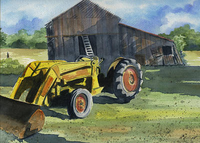 Neighbor Dons Tractor Original by Marsha Elliott