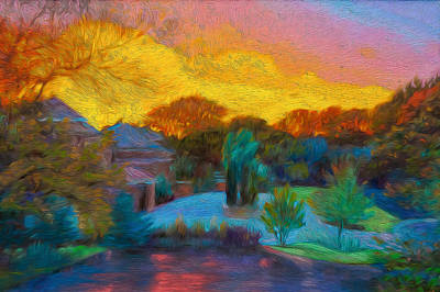 Digital Art - Neighborhood At Sunset by Judith Barath