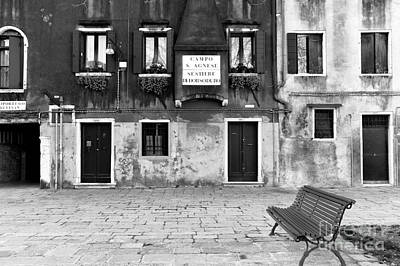 Photograph - Neighborhood Bench In Venezia by John Rizzuto