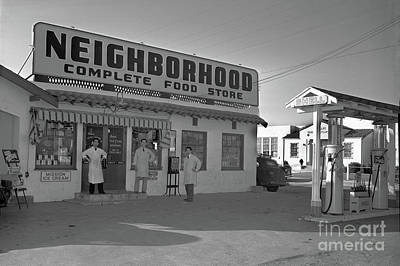 Photograph - Neighborhood Complete Food Store And Shell Gas Station Circa 1940 by California Views Mr Pat Hathaway Archives