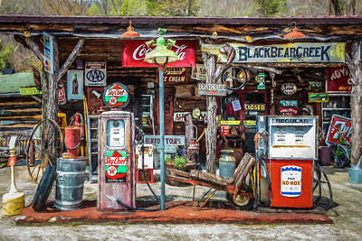 Oil Lamp Photograph - Neighborhood Grocery And Gas Painting by Debra and Dave Vanderlaan