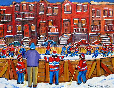 Afterschool Hockey Montreal Painting - Neighborhood  Hockey Rink by Carole Spandau