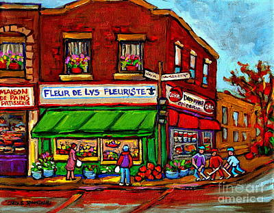 Painting - Neighborhood Storefront Winter Street Hockey Game Paintings Montreal Florist Carole Spandau      by Carole Spandau