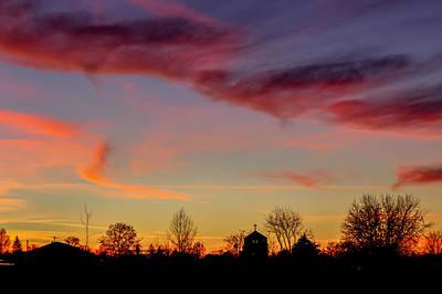 Neighborhood Sunset Silhouette Art Print