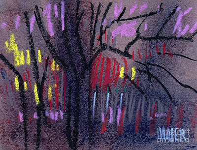 Tree Abstracts Drawing - Neighbor's Lights by Donald Maier