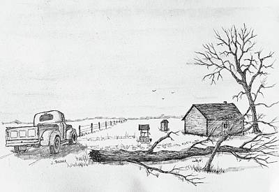 Drawing - Neighbors Place 3 by Jack G Brauer