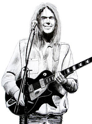 Neil Young Drawing - Neil Young 1972 by Ron Enderland
