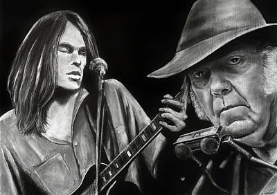 Neil Young Drawing - Neil Young And Neil Old by William Underwood