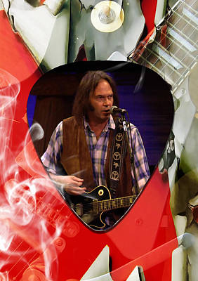 Mixed Media - Neil Young Art by Marvin Blaine
