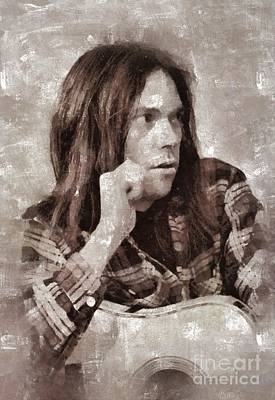 Music Royalty-Free and Rights-Managed Images - Neil Young by Mary Bassett by Mary Bassett