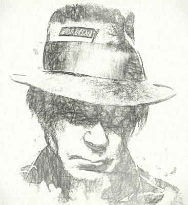 Neil Young Drawing - Neil Young Charcoal Sketch by Dan Sproul