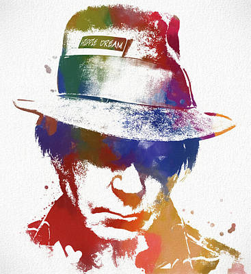 Painting - Neil Young Hippe by Dan Sproul
