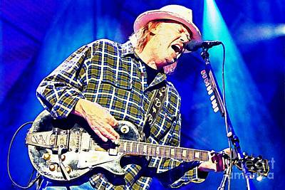 Neil Young Drawing - Neil Young In Concert by John Malone