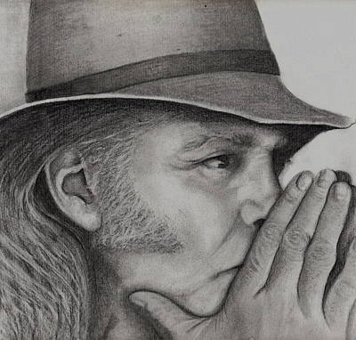 Gioffre Harrington Drawing - Neil Young by Janet Gioffre Harrington